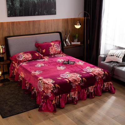 2019新款金貂绒牛奶绒单品床单 单床单:180cmx230cm 富贵牡丹