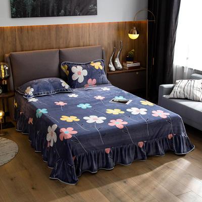 2019新款金貂绒牛奶绒单品床单 单床单:180cmx230cm 简约花朵