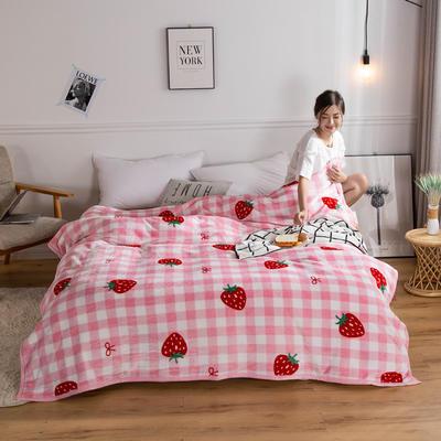 2018新款-金貂绒云貂绒毛毯 330克 120×200cm 格子草莓