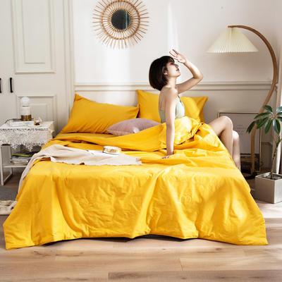 2020新款全棉夏被四件套 枕套一对 柠檬黄