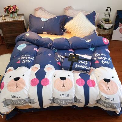 2019新品磨毛印花四件套 1.2m床三件套 熊的童话
