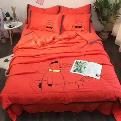 2019新款纯色工艺夏被四件套 1.8m(6英尺)床 亮橙色