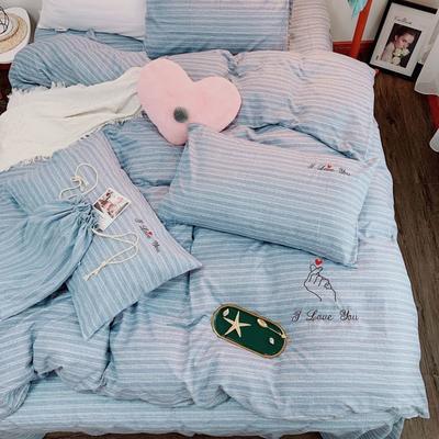 2019新款轻奢绣花工艺款四件套 1.8m床四件套(床单款) 比心-浅蓝