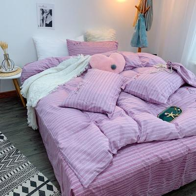 2019新款轻奢绣花工艺款四件套 1.8m床四件套(床单款) 比心-浅紫