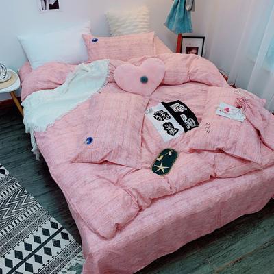 2019新款轻奢绣花工艺款四件套 1.8m床四件套(床单款) 猪事顺利-粉玉