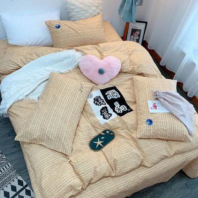 2019新款轻奢绣花工艺款四件套 1.8m床四件套(床单款) 猪事顺利-黄