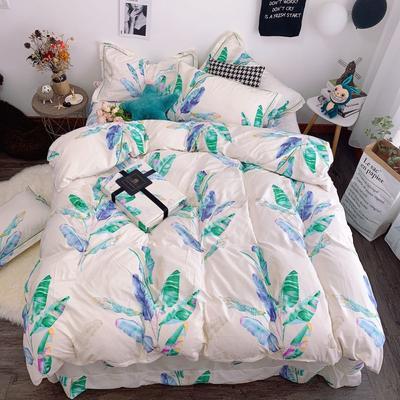 2019新款磨毛四件套 1.8m床四件套(床单款) 绿野芭蕉