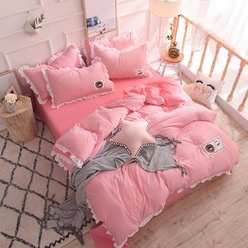2018新款-金牛座家纺EYE系列个性水洗棉四件套 1.5m(5英尺)床 粉色条纹