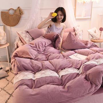 金牛座2018新款蕾丝花边韩版水晶绒四件套法莱绒宝宝绒 2.0m(6.6英尺)床 豆沙