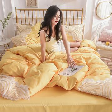 2019新款-波浪款水洗真丝四件套 1.8m(6英尺)床 简爱亮黄