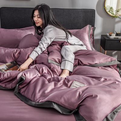 2020新款-魅惑系列水洗真丝四件套 床单款三件套1.2m(4英尺)床 魅惑豆沙