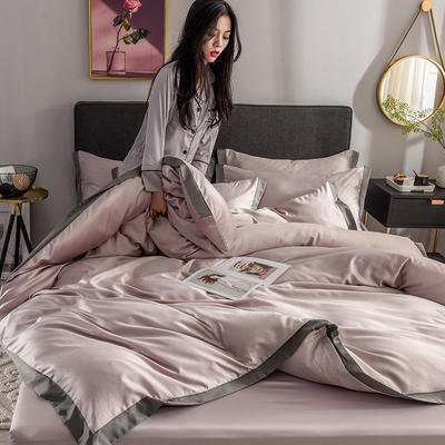 2020新款-魅惑系列水洗真丝四件套 床单款四件套1.5m(5英尺)床 魅惑香槟