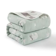 2018新款六层纱布毛巾被 90*100cm 北极熊绿