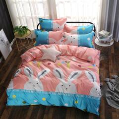 磨毛钻石绒四件套 1.0m(3.3英尺)床(三件套) 乖乖兔-粉