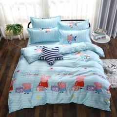 磨毛钻石绒四件套 1.0m(3.3英尺)床(三件套) 小猪佩奇-蓝(大模板)