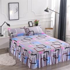 舒柔芦荟棉单品床裙 加枕套一对 彩云阁