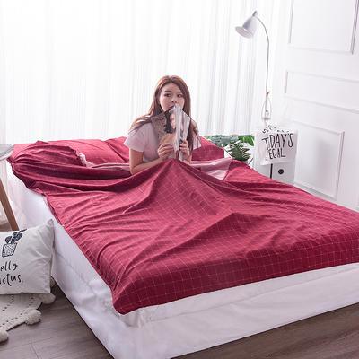 富瑞阁    2019新品隔脏旅行睡袋(180*215cm) 格子系列红色格子