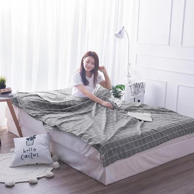 富瑞阁  2019新品   隔脏旅行睡袋(200*215cm) 格子系列灰格子