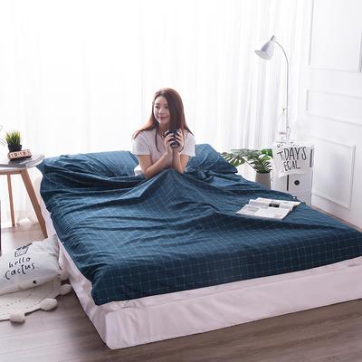 富瑞阁  2019新品   隔脏旅行睡袋(200*215cm) 格子系列蓝色格子