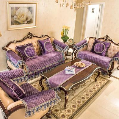 富瑞阁      2019新品沙发垫-锦绣花园 扶手巾50*60cm 紫色