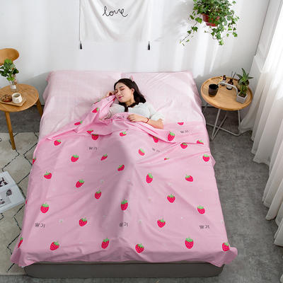 2019新款128*68纯棉隔脏旅行睡袋 粉红草莓160*215cm