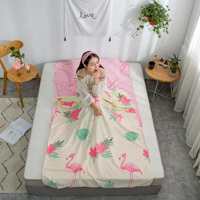 2019新款128*68纯棉隔脏旅行睡袋 花园假期-粉80*215cm