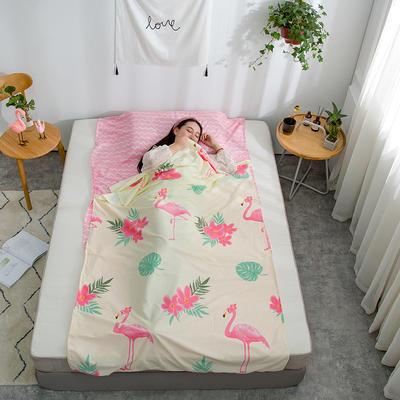 2019新款128*68纯棉隔脏旅行睡袋 花园假期-粉120*215cm