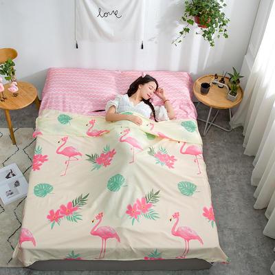 2020新款128*68纯棉隔脏旅行睡袋 花园假期-粉200*215cm