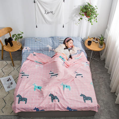 2019新款128*68纯棉隔脏旅行睡袋 亚马逊-粉120*215cm