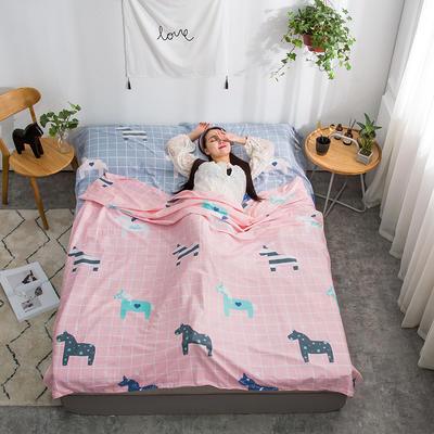 2020新款128*68纯棉隔脏旅行睡袋 亚马逊-粉200*215cm