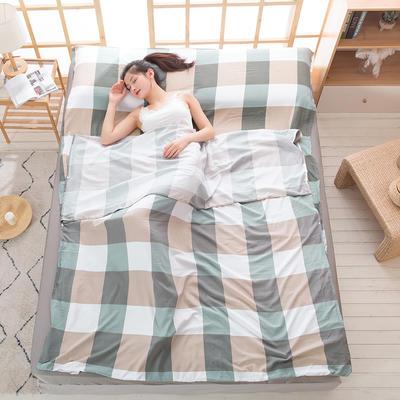 2020新款斜纹水洗棉旅行睡袋 米兰时尚-绿80*215cm