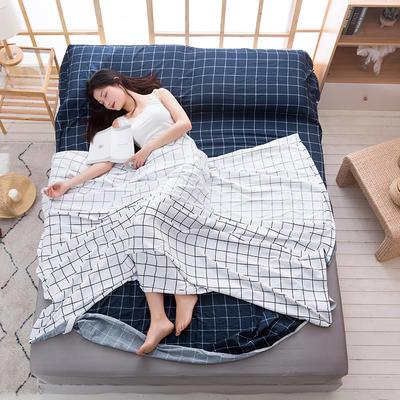 2020新款斜纹水洗棉旅行睡袋 自然风-蓝80*215cm