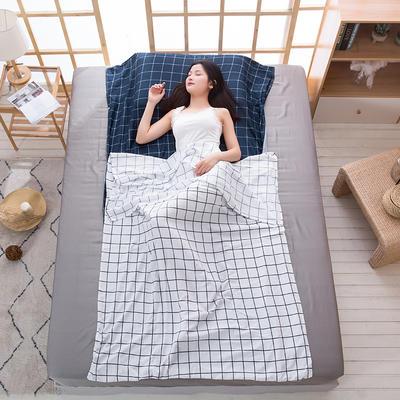 2020新款斜纹水洗棉旅行睡袋 自然风-蓝120*215cm