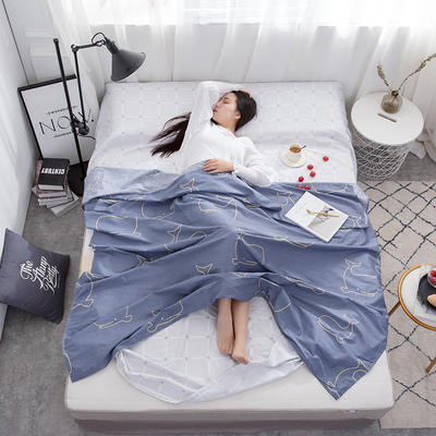 2019新款128*68纯棉隔脏旅行睡袋 可爱鲸鱼120*215cm
