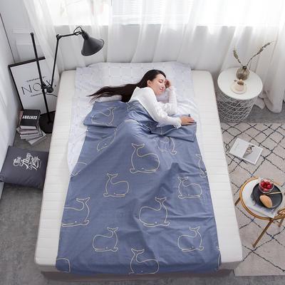 2019新款128*68纯棉隔脏旅行睡袋 可爱鲸鱼200*215cm