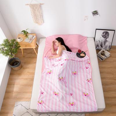 2020新款芦荟棉隔脏旅行睡袋 条纹粉红豹80*215cm