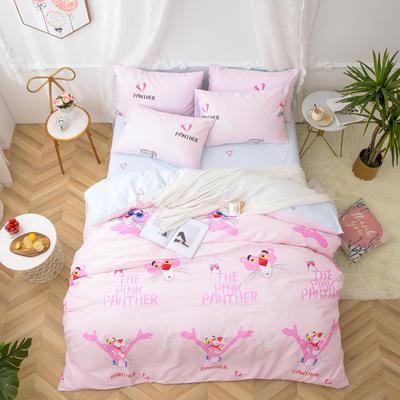 2019新款全棉12868四件套 床单款1.2m(4英尺)床三件套 粉红豹