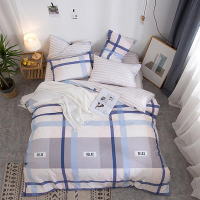 2019新款全棉12868四件套 床单款四件套1.8m(6英尺)床 格调空间