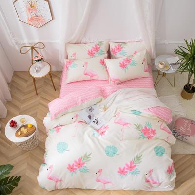 2019新款全棉12868四件套 床单款1.2m(4英尺)床三件套 花园假期-粉
