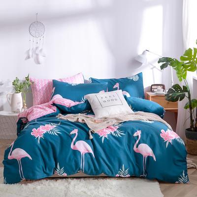 2019新款全棉12868四件套 床单款1.2m(4英尺)床三件套 花园假期-青