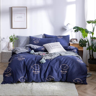 2019新款全棉12868四件套 床单款1.2m(4英尺)床三件套 魔法鱼