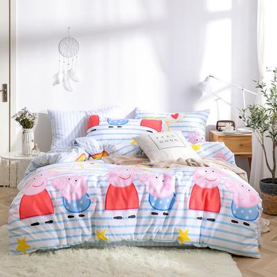 2019新款全棉12868四件套 床单款1.2m(4英尺)床三件套 甜心佩奇