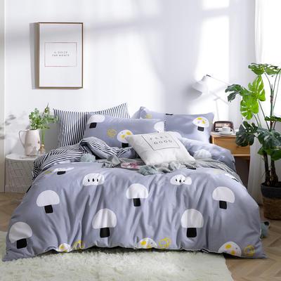 2019新款全棉12868四件套 床单款1.2m(4英尺)床三件套 小蘑菇