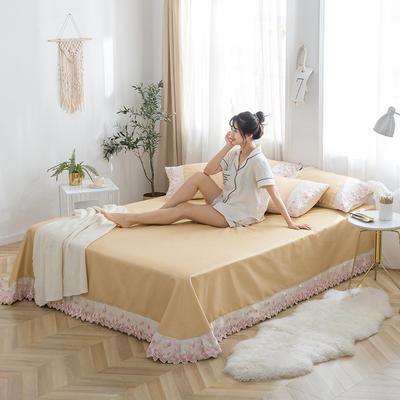 2019新款冰丝花边凉席床单款 1.8*2.3两件套 姜黄色
