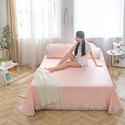 2019新款冰丝花边凉席床单款 1.8*2.3两件套 藕粉色