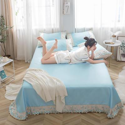 2019新款冰丝花边凉席床单款 1.8*2.3两件套 温润蓝
