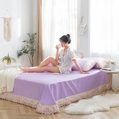 2019新款冰丝花边凉席床单款 1.8*2.3两件套 香芋紫