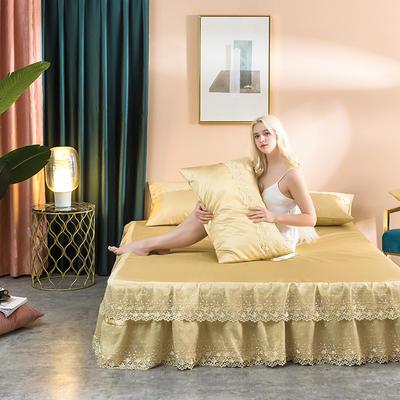 2019新款冰丝蕾丝凉席床裙款 1.2m床(两件套) 姜黄色