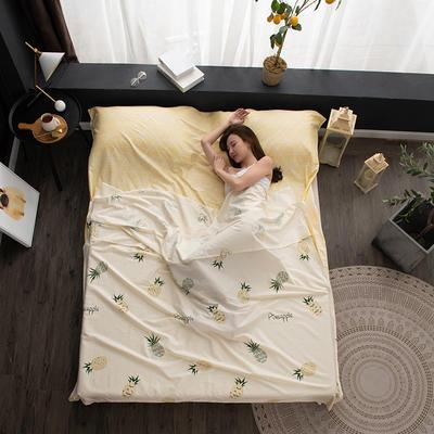 2020新款128*68纯棉隔脏旅行睡袋 菠萝蜜200*215cm