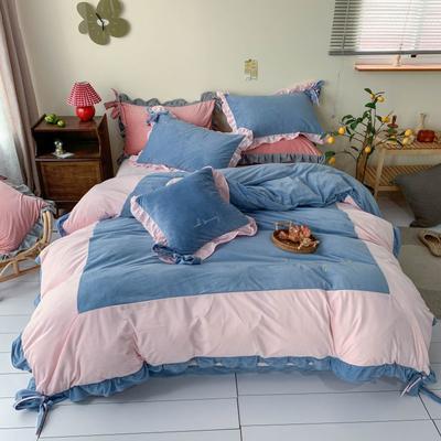 2020新款宝宝绒四件套—Luna蝴蝶结款 1.5m床单款 粉蓝